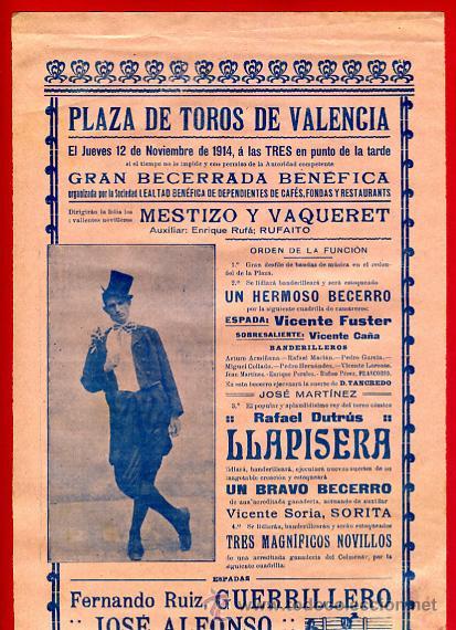 CARTEL TOROS, PLAZA DE VALENCIA 1914 , ANTIGUO , ORIGINAL M62 (Coleccionismo - Carteles Gran Formato - Carteles Toros)