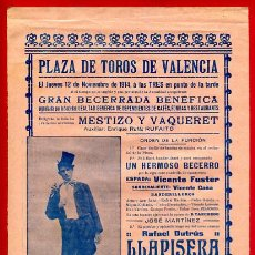 Carteles Toros: CARTEL TOROS, PLAZA DE VALENCIA 1914 , ANTIGUO , ORIGINAL M62. Lote 40435665