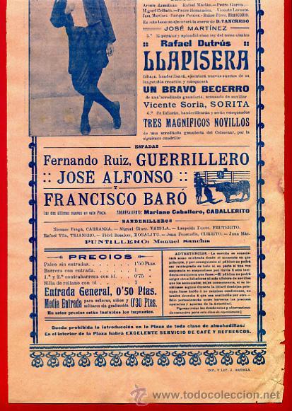 Carteles Toros: CARTEL TOROS, PLAZA DE VALENCIA 1914 , ANTIGUO , ORIGINAL M62 - Foto 2 - 40435665