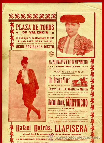 CARTEL TOROS, PLAZA DE VALENCIA 1914 , ANTIGUO , ORIGINAL M63 (Coleccionismo - Carteles Gran Formato - Carteles Toros)