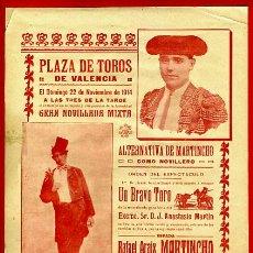 Carteles Toros: CARTEL TOROS, PLAZA DE VALENCIA 1914 , ANTIGUO , ORIGINAL M63. Lote 40293647