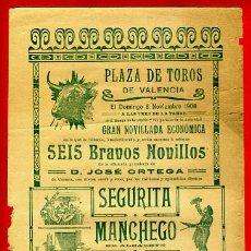 Carteles Toros: CARTEL TOROS, PLAZA DE VALENCIA 1908 , ANTIGUO , ORIGINAL M92. Lote 40302604