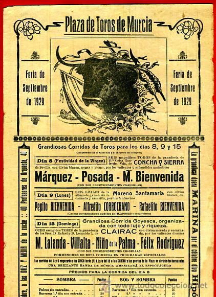 CARTEL TOROS, PLAZA DE MURCIA 1929 , ANTIGUO , ORIGINAL M103 (Coleccionismo - Carteles Gran Formato - Carteles Toros)