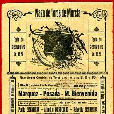 Carteles Toros: CARTEL TOROS, PLAZA DE MURCIA 1929 , ANTIGUO , ORIGINAL M103. Lote 40302775