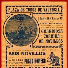Affiches Tauromachie: CARTEL TOROS, PLAZA DE VALENCIA 1931 , ANTIGUO , ORIGINAL M111. Lote 40302864