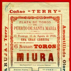 Carteles Toros: CARTEL TOROS, PLAZA DE PUERTO SANTA MARIA CADIZ , 1920 , ANTIGUO , ORIGINAL M164. Lote 40303896