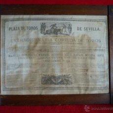 Carteles Toros: TAUROMAQUIA EXCEPCIONAL CARTEL DE TOROS DE SEVILLA EN SEDA AÑO 1876. Lote 40965638