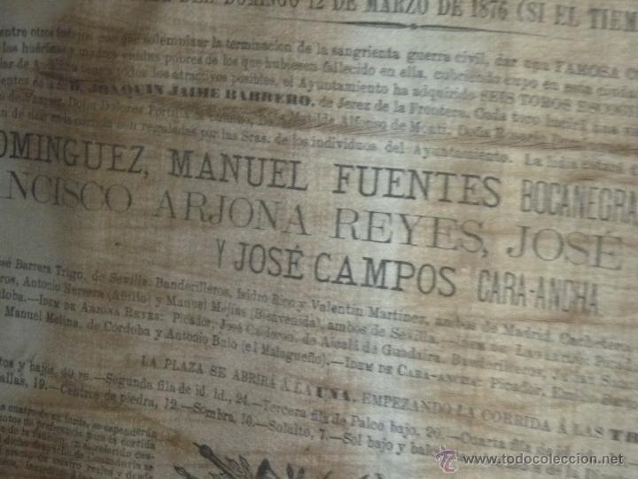 Carteles Toros: TAUROMAQUIA EXCEPCIONAL CARTEL DE TOROS DE SEVILLA EN SEDA AÑO 1876 - Foto 3 - 40965638