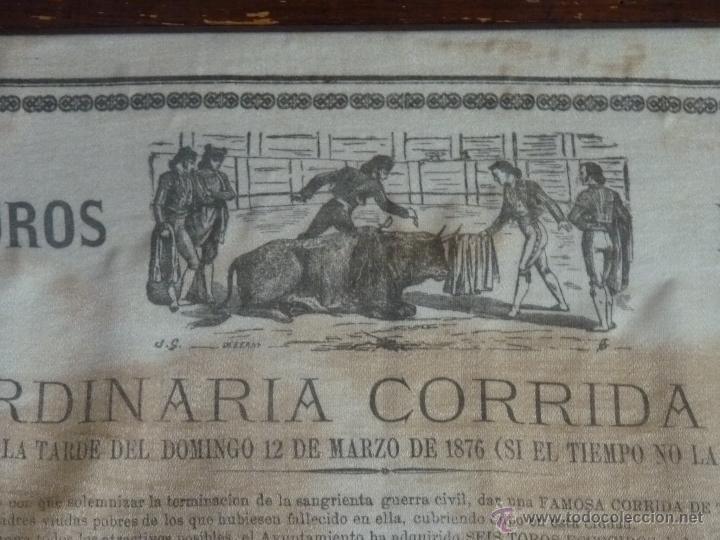 Carteles Toros: TAUROMAQUIA EXCEPCIONAL CARTEL DE TOROS DE SEVILLA EN SEDA AÑO 1876 - Foto 4 - 40965638