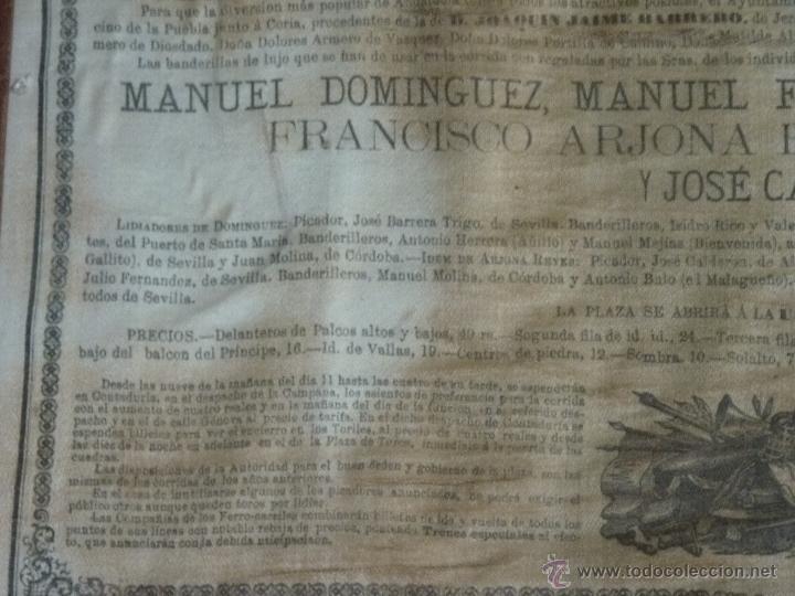Carteles Toros: TAUROMAQUIA EXCEPCIONAL CARTEL DE TOROS DE SEVILLA EN SEDA AÑO 1876 - Foto 5 - 40965638
