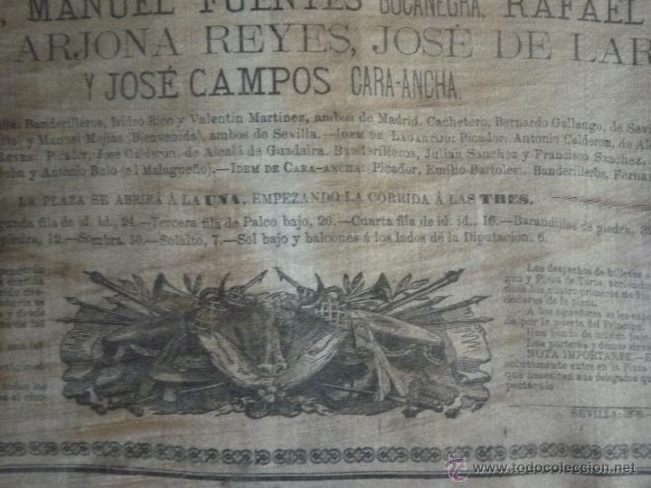 Carteles Toros: TAUROMAQUIA EXCEPCIONAL CARTEL DE TOROS DE SEVILLA EN SEDA AÑO 1876 - Foto 6 - 40965638