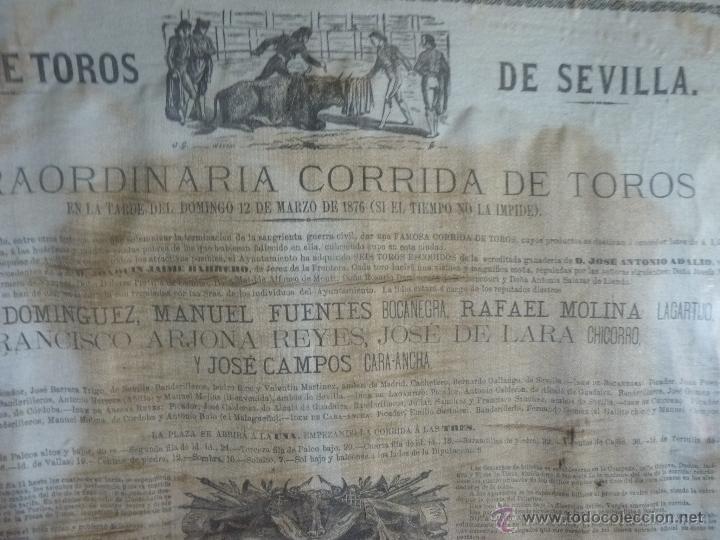 Carteles Toros: TAUROMAQUIA EXCEPCIONAL CARTEL DE TOROS DE SEVILLA EN SEDA AÑO 1876 - Foto 11 - 40965638