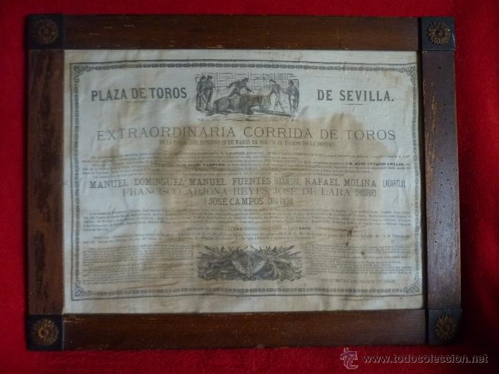 Carteles Toros: TAUROMAQUIA EXCEPCIONAL CARTEL DE TOROS DE SEVILLA EN SEDA AÑO 1876 - Foto 12 - 40965638