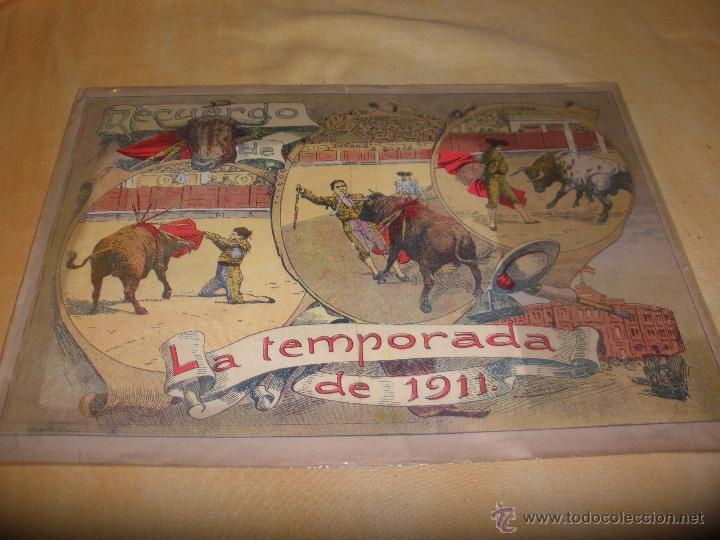 ¡SUPER BARATA! LAMINA DE TOROS RECUERDO DE LA TEMPORADA DEL AÑO 1911 38 X 27 CM (Coleccionismo - Carteles Gran Formato - Carteles Toros)
