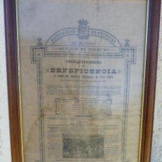 Carteles Toros: TAUROMAQUIA, TOROS, ESPECTACULAR CARTEL DE TOROS EN SEDA, BENEFICENCIA MADRID 1889. Lote 41286469