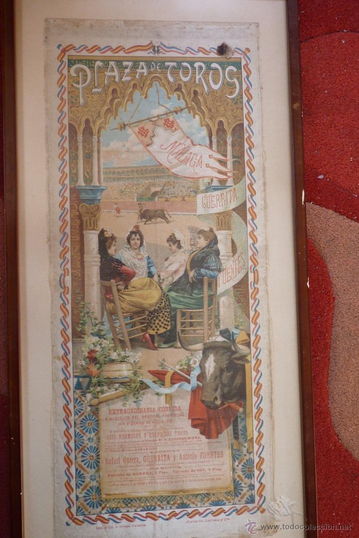 EXCEPCIONAL CARTEL DE TOROS EN SEDA MÁLAGA SIGLO XIX (Coleccionismo - Carteles Gran Formato - Carteles Toros)
