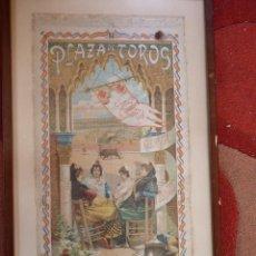 Carteles Toros: EXCEPCIONAL CARTEL DE TOROS EN SEDA MÁLAGA SIGLO XIX. Lote 41321597