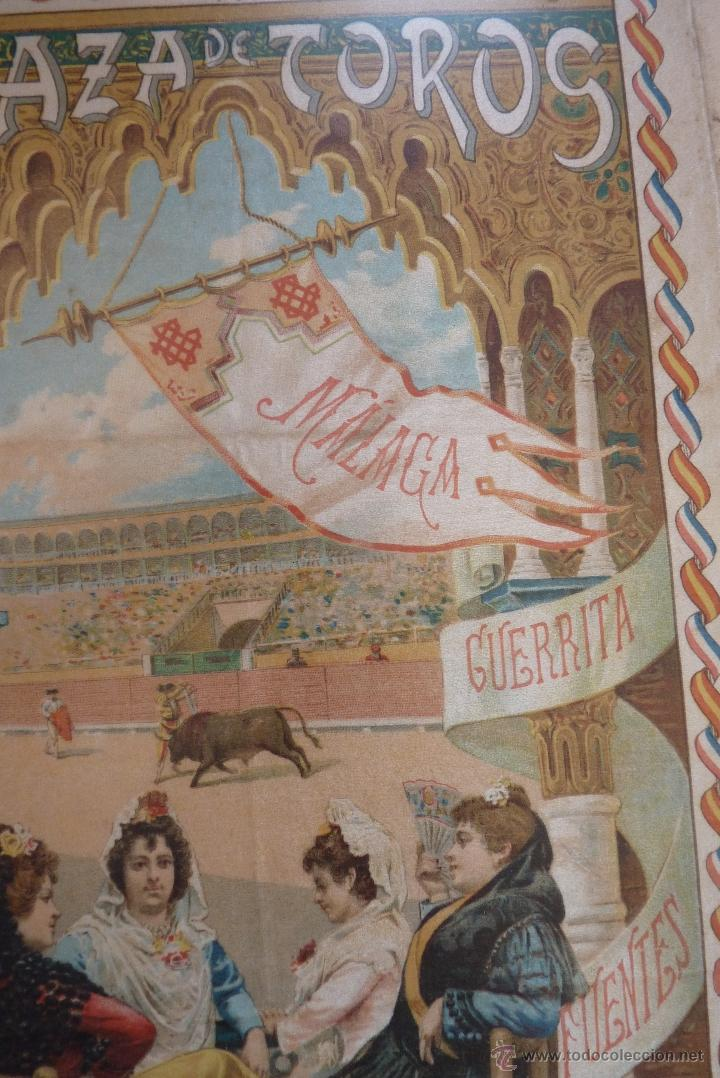 Carteles Toros: EXCEPCIONAL CARTEL DE TOROS EN SEDA MÁLAGA SIGLO XIX - Foto 3 - 41321597
