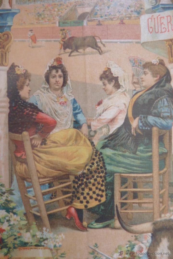 Carteles Toros: EXCEPCIONAL CARTEL DE TOROS EN SEDA MÁLAGA SIGLO XIX - Foto 5 - 41321597