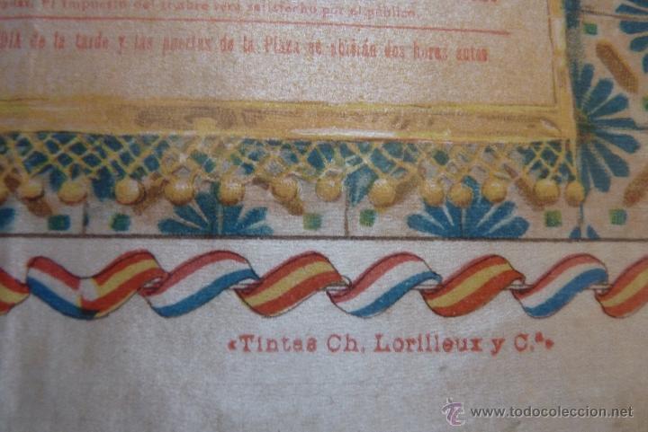 Carteles Toros: EXCEPCIONAL CARTEL DE TOROS EN SEDA MÁLAGA SIGLO XIX - Foto 6 - 41321597