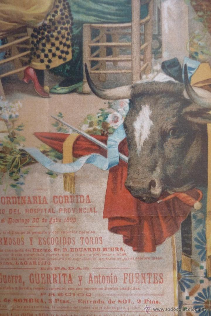 Carteles Toros: EXCEPCIONAL CARTEL DE TOROS EN SEDA MÁLAGA SIGLO XIX - Foto 10 - 41321597
