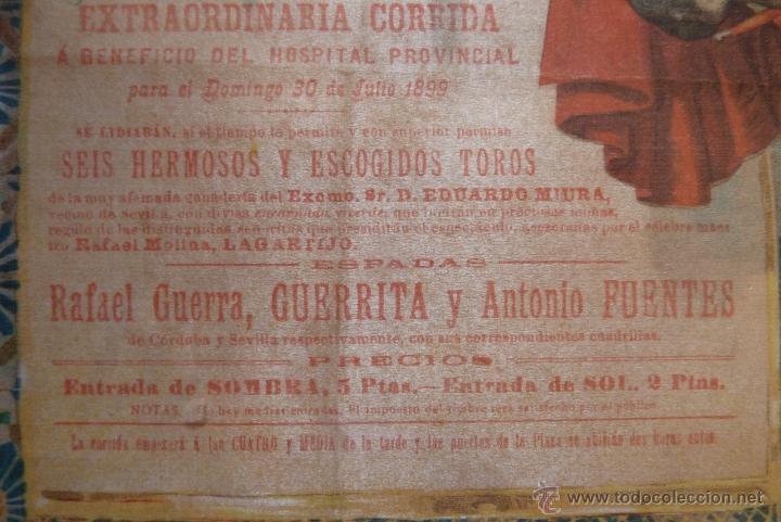 Carteles Toros: EXCEPCIONAL CARTEL DE TOROS EN SEDA MÁLAGA SIGLO XIX - Foto 11 - 41321597