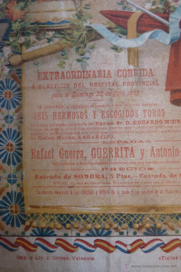 Carteles Toros: EXCEPCIONAL CARTEL DE TOROS EN SEDA MÁLAGA SIGLO XIX - Foto 12 - 41321597