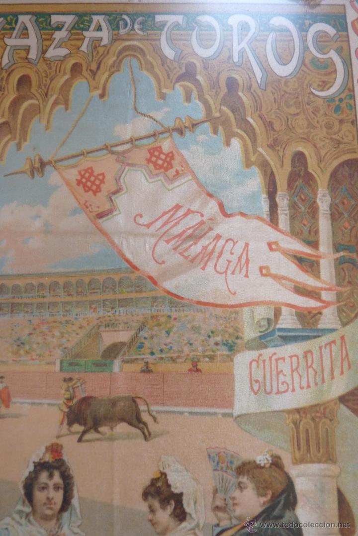Carteles Toros: EXCEPCIONAL CARTEL DE TOROS EN SEDA MÁLAGA SIGLO XIX - Foto 14 - 41321597