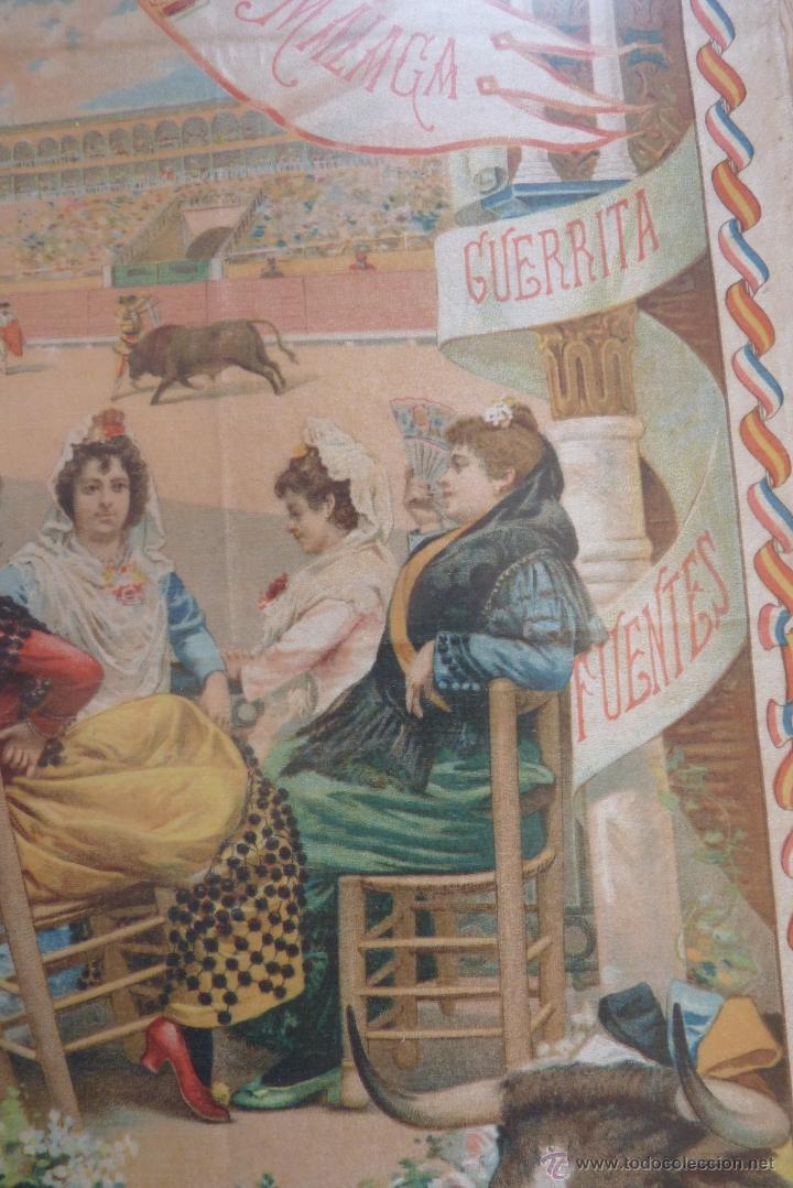 Carteles Toros: EXCEPCIONAL CARTEL DE TOROS EN SEDA MÁLAGA SIGLO XIX - Foto 15 - 41321597