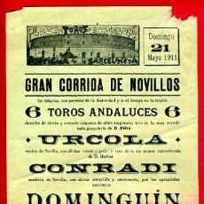 Carteles Toros: CARTEL TOROS, PLAZA BARCELONA 1911 , DOMONGUIN RODARTE , ORIGINAL, M231. Lote 41454594