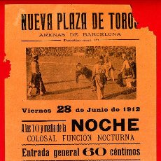 Carteles Toros: CARTEL TOROS, PLAZA BARCELONA 1912 , ORIGINAL, M236. Lote 41455289