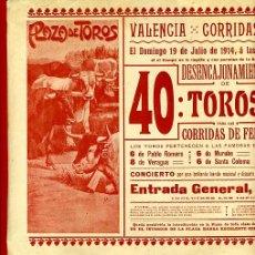 Carteles Toros: CARTEL TOROS, PLAZA VALENCIA , FERIA JULIO 1914 , ORIGINAL, M256. Lote 41455996