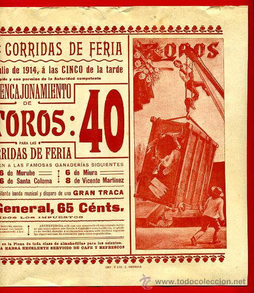 Carteles Toros: CARTEL TOROS, PLAZA VALENCIA , FERIA JULIO 1914 , ORIGINAL, M256 - Foto 2 - 41455996