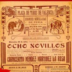 Carteles Toros: CARTEL TOROS, PLAZA VALENCIA , FERIA 1919 , ORIGINAL, M261. Lote 41456163