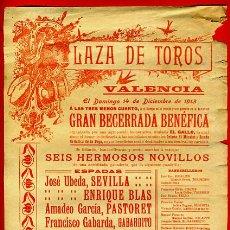 Carteles Toros: CARTEL TOROS, PLAZA VALENCIA , 1913 , ORIGINAL, M263. Lote 41456610
