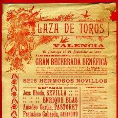 Carteles Toros: CARTEL TOROS, PLAZA VALENCIA , 1913 , ORIGINAL, M264. Lote 41456639