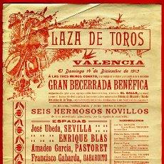 Carteles Toros: CARTEL TOROS, PLAZA VALENCIA , 1913 , ORIGINAL, M265. Lote 41456650