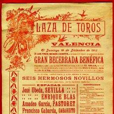 Carteles Toros: CARTEL TOROS, PLAZA VALENCIA , 1913 , ORIGINAL, M267. Lote 41456664