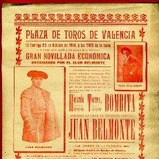 Carteles Toros: CARTEL TOROS, PLAZA VALENCIA , 1918 , BOMBITA BELMONTE , ORIGINAL, M269. Lote 42583803