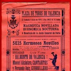 Carteles Toros: CARTEL TOROS, PLAZA VALENCIA , 4 7 1914 , ORIGINAL, M272. Lote 41456829