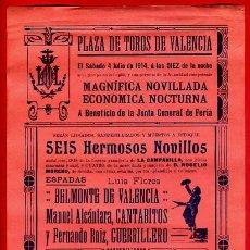 Carteles Toros: CARTEL TOROS, PLAZA VALENCIA , 4 7 1914 , ORIGINAL, M273. Lote 41456834