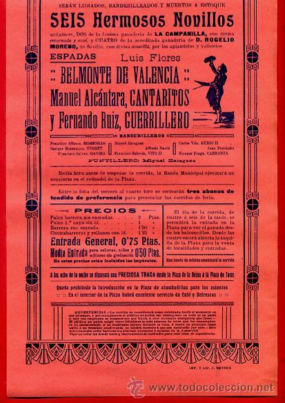 Carteles Toros: CARTEL TOROS, PLAZA VALENCIA , 4 7 1914 , ORIGINAL, M273 - Foto 2 - 41456834