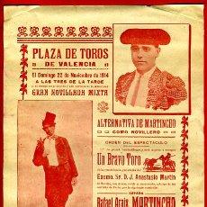 Carteles Toros: CARTEL TOROS, PLAZA VALENCIA , 1914 , MARTINCHO Y LLAPISERA , ORIGINAL, M274. Lote 41682842