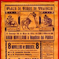 Carteles Toros: CARTEL TOROS, PLAZA VALENCIA , 1934 , TOLEDO LA SERNA , ORIGINAL, M281. Lote 41457053