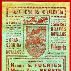 Carteles Toros: CARTEL TOROS, PLAZA VALENCIA , 1929 , FUENTES PERETE TOLEDO , ORIGINAL, M299. Lote 41457845