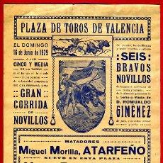 Carteles Toros: CARTEL TOROS, PLAZA VALENCIA , 1929 , ATARFEÑO PERETE TOLEDO , ORIGINAL, M303. Lote 41682474