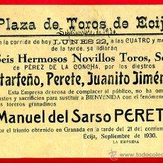 Carteles Toros: CARTEL TOROS, PLAZA ECIJA , SEVILLA , 1930 , ORIGINAL, M306. Lote 41458029