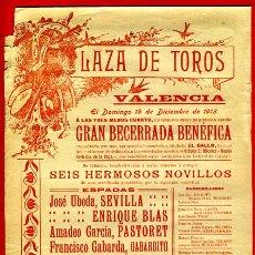Carteles Toros: CARTEL TOROS, PLAZA VALENCIA , 1913 , ORIGINAL, M322. Lote 41458695