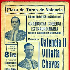 Carteles Toros: CARTEL TOROS, PLAZA VALENCIA , 1928 , VALENCIA II VILLALTA CHAVES TORRES ORIGINAL, M334. Lote 41458945