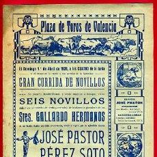 Carteles Toros: CARTEL TOROS, PLAZA VALENCIA , 1928 , ORIGINAL, M336. Lote 41458982